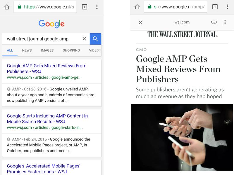 een voorbeeld van AMP Accelerated Mobile Pages
